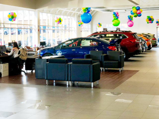 Carbone Subaru's showroom maximizes the use of natural light with large windows